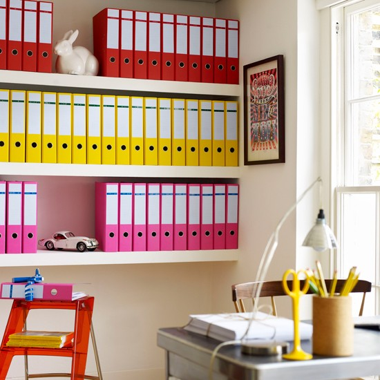 Organised office with coloured files | Adding colour to a home office | Decorating with colour | PHOTO GALLERY | Housetohome