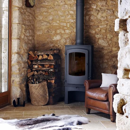 Country Living Room Stove Design