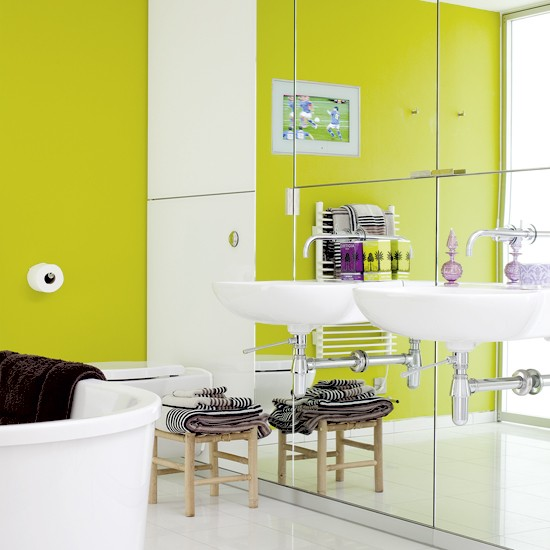 Lime green bathroom | Colourful bathroom | Wall mirrors | Image | Housetohome