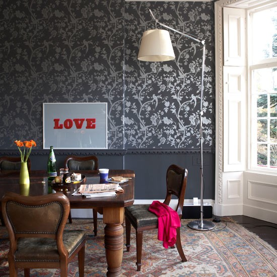 Grey dining room take a tour of a vibrant scottish home for Quirky dining room ideas