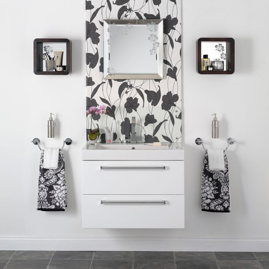 Monochrome feature wall black and white bathroom designs for Monochromatic bathroom designs