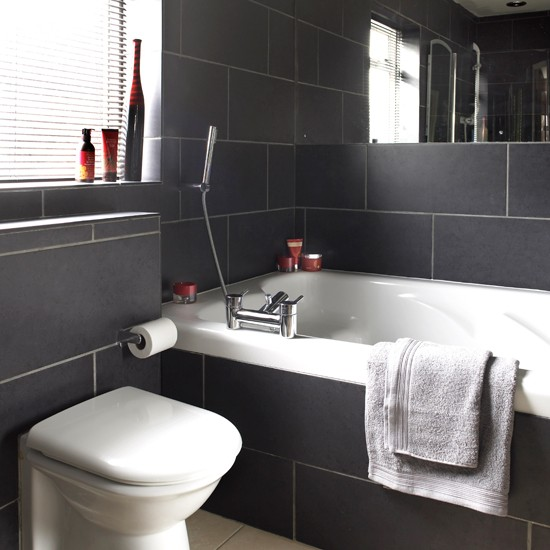 Charcoal tiled bathroom black and white bathroom designs for Black bathroom designs