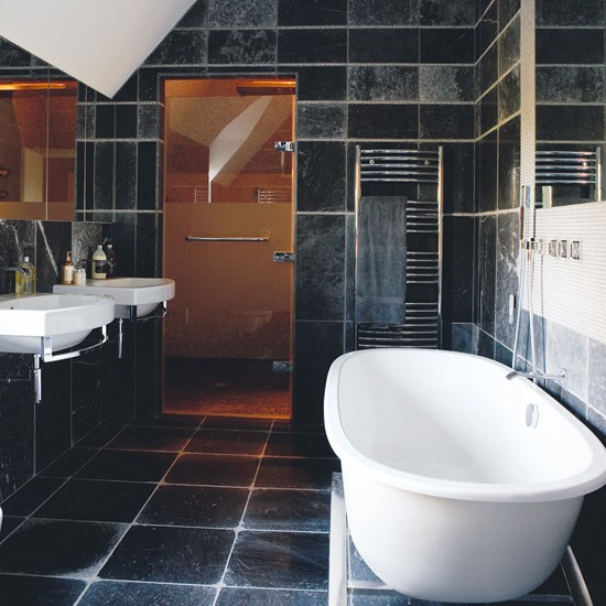 Tiled bathroom with shower room black and white bathroom for Black tile bathroom designs