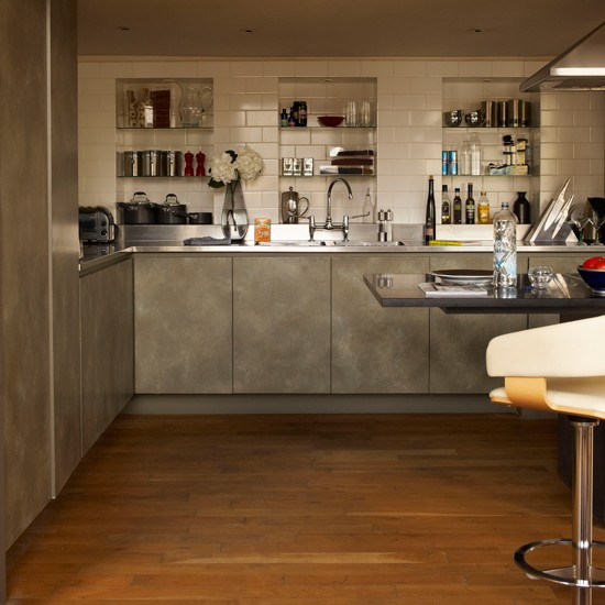 alcove storage kitchen stylish london apartment house