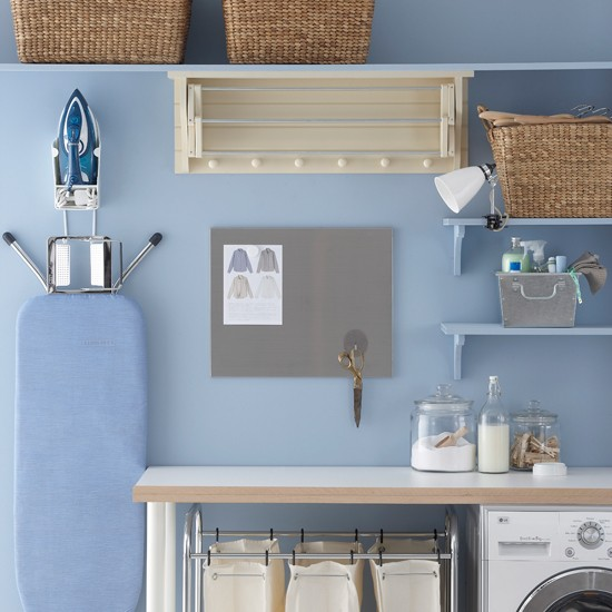 Powder blue utility room | country style utility rooms | utility room ideas | laundry room ideas | housetohome