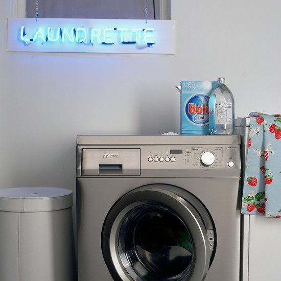 Neon sign utility room | modern utility room ideas | utility room decorating ideas | laundry room ideas | housetohome