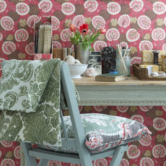 Pretty home office | Wallpaper and fabric ideas for spring | Spring decorating trends | Image | Housetohome