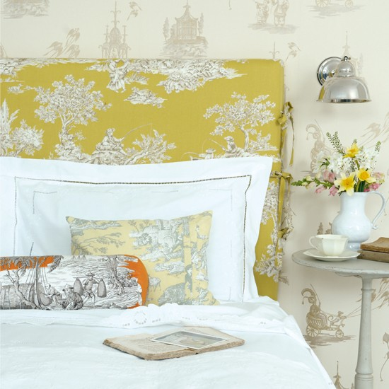Zesty yellow bedroom | Wallpaper and fabric ideas for spring | Spring decorating trends | Image | Housetohome
