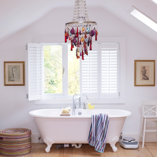 White bathroom with rainbow highlights | Modern bathroom | Bath | Image | Housetohome