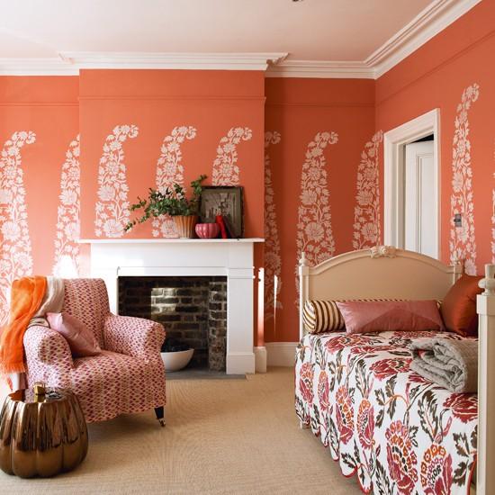 Bold orange living room | Colourful living room | Wall stencil idea | Image | Housetohome