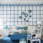 Blue bamboo stencilled living room | 10 ways with stencils | Easy stencilling ideas | PHOTO GALLERY