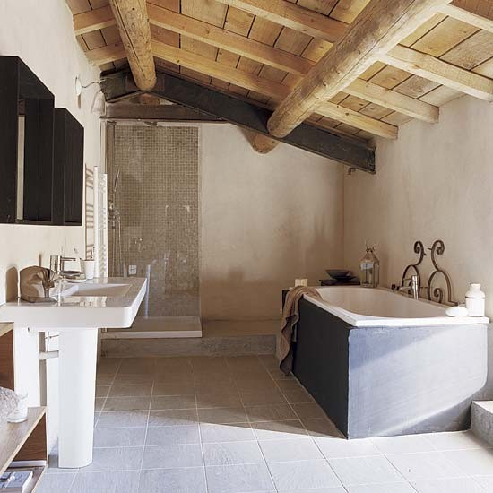 best attic conversion ideas - Bathroom French Provencal barn house tour