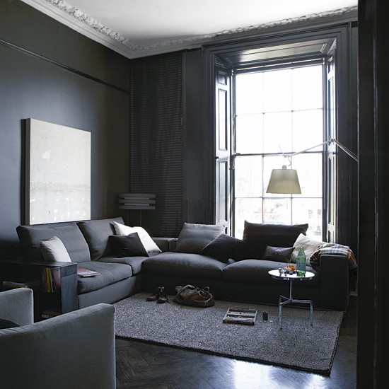 Grey paint living room native home garden design for Dark interior paint colors
