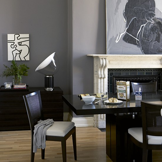 Slate grey dining room georgian townhouse house tour real homes