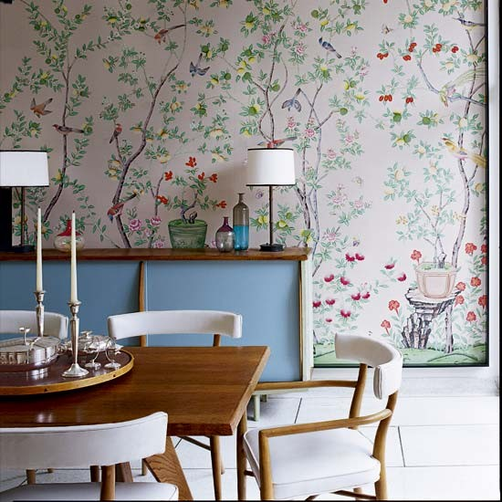 Dining room contemporary north carolina home house tour for Best wallpapers for dining rooms