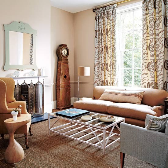 Tonal living room | Living room design | Curtains | Image | Housetohome
