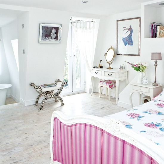 White bedroom with pink accents | Modern bedroom | French-style bed | Image | Housetohome