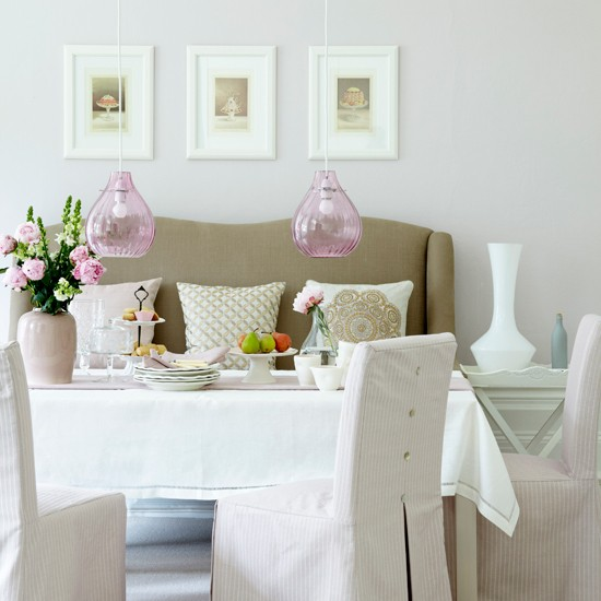 Soft pink dining room | Traditional dining room | Sofa | Image | Housetohome
