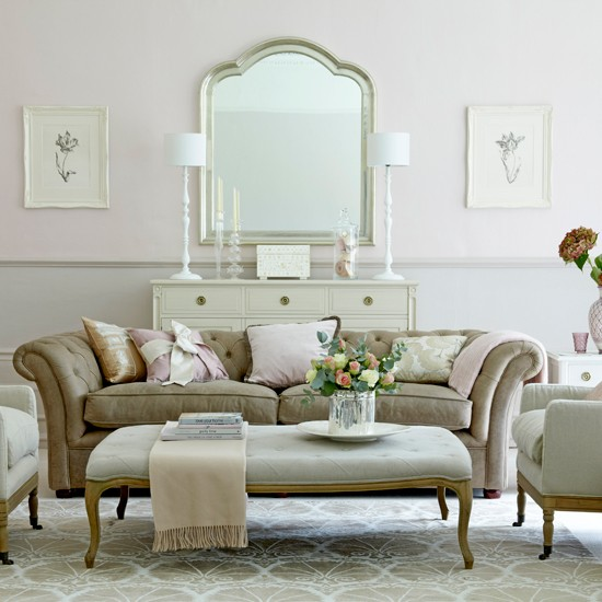 Nude-toned living room | Traditional living room | Classic sofa | Image | Housetohome