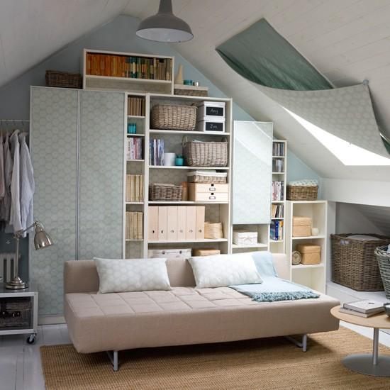 Attic living room storage | Storage design ideas | Sofabed inspiration | Image | Housetohome