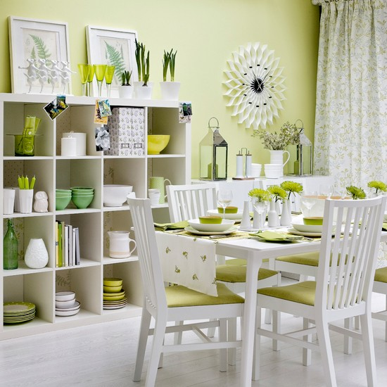 Zingy green dining room modern dining room housetohome for Dining room ideas green