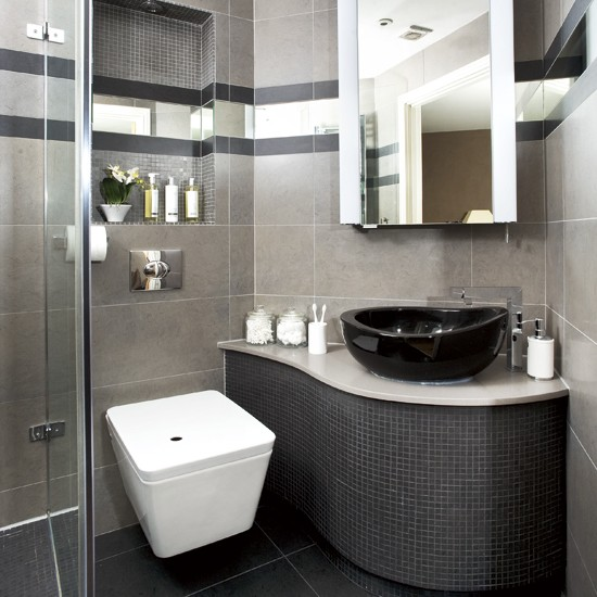 Sleek black bathroom | Small bathroom | Bathroom design idea | Image | Housetohome
