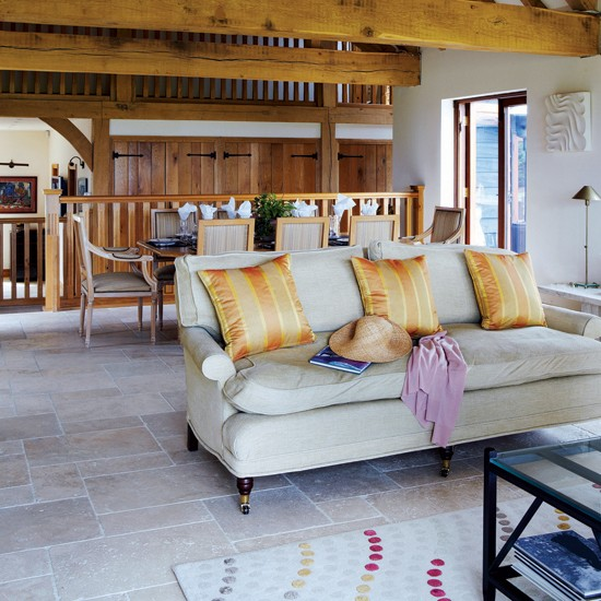 Neutral country living room   Living room design   Wooden beams   Image   Housetohome