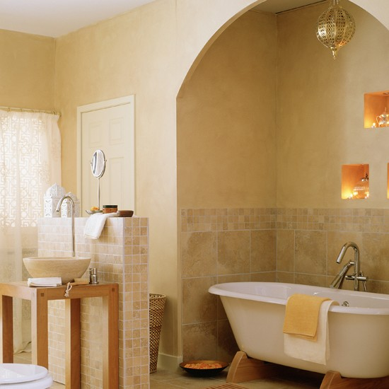 Moroccan style bathroom recess bathroom shelving ideas for Bathroom decor styles