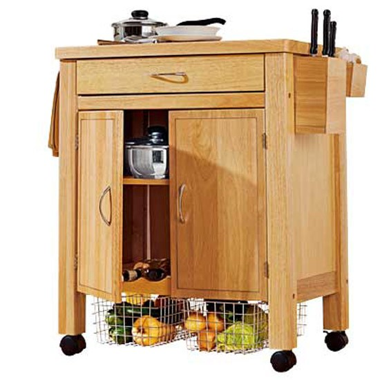 Kitchen Shelf Argos: Deluxe Rubberwood Trolley From Argos