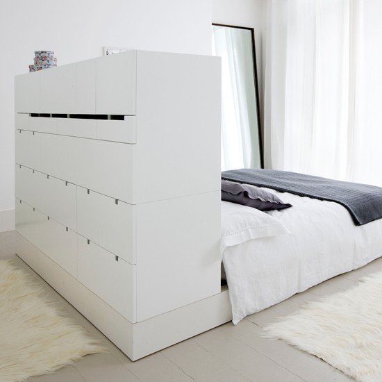 Turn a headboard into drawers storage solutions for small spaces - Small space storage solutions for bedroom ideas ...