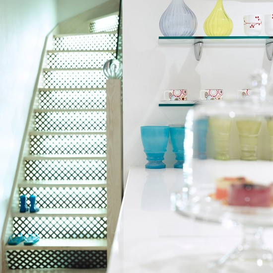 Illuminated stair risers hallways and stairs 10 - Stair riser decoration ideas ...