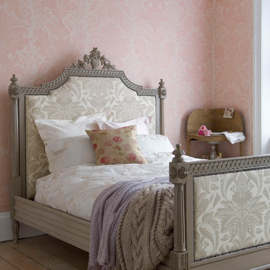 Damask print bedroom | Country bedroom | Bedroom wallpaper idea | Image | Housetohome