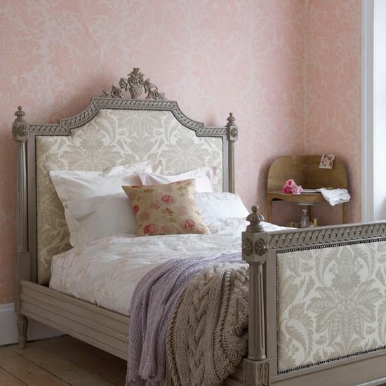 Damask print bedroom | Country bedroom | Bedroom wallpaper idea | Image | Housetohome