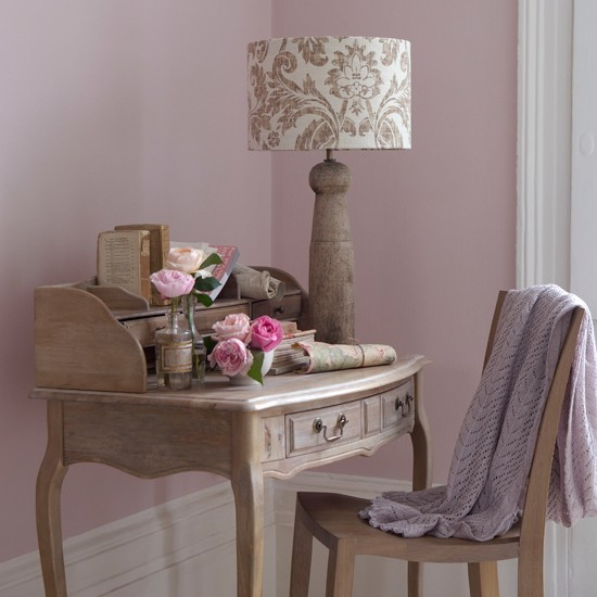 Pink bedroom dressing area | Home office idea | Wooden desk | Image | Housetohome
