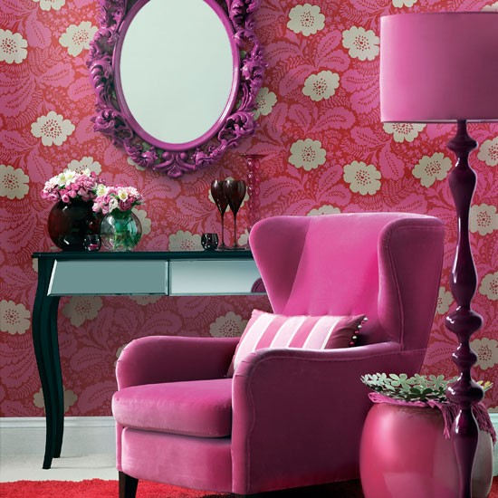 Purple floral living room | Colourful living room | Floral wallpaper | Image | Housetohome