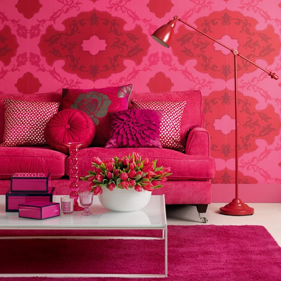 Pink floral living room | Living room designs | Pink patterned wallpaper | Image | Housetohome