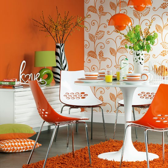 Modern orange dining room | Dining room decoration | Orange theme | Image | Housetohome