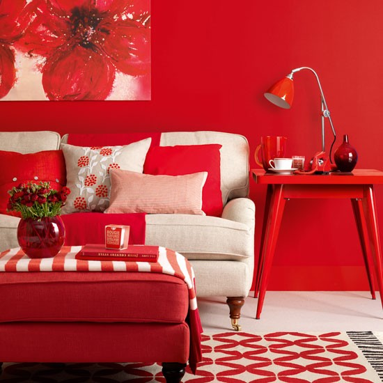 Modern red living room living room design housetohome for Modern living room red
