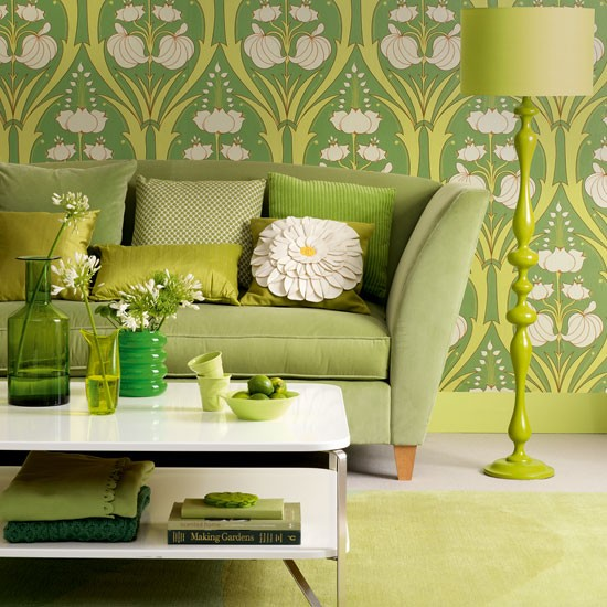 Green floral living room | Living room decorating | Image | Housetohome