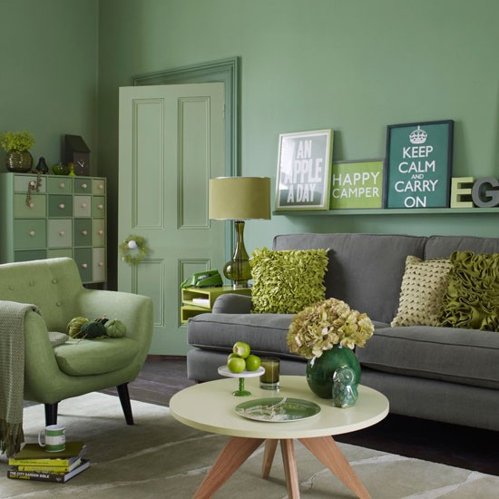 green living room living room decoration