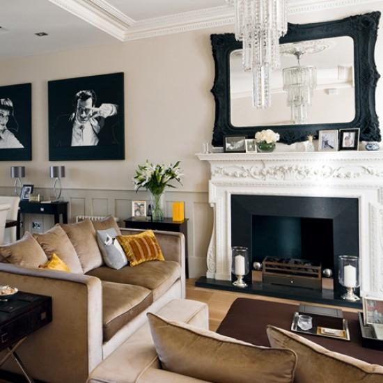 Caramel living room   living room design   Fireplace   Image   Housetohome
