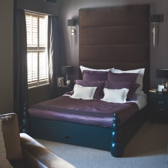 Chocolate and plum bedroom | Bedroom design | Bedhead design | Image | Housetohome