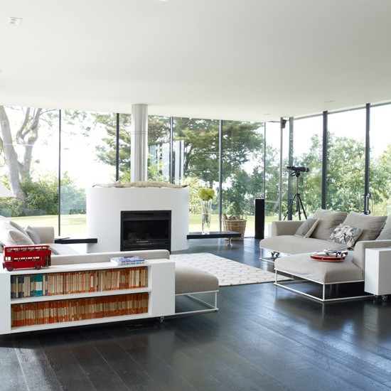 Modern open-plan living room | Living room design | Fireplace | Image | Housetohome