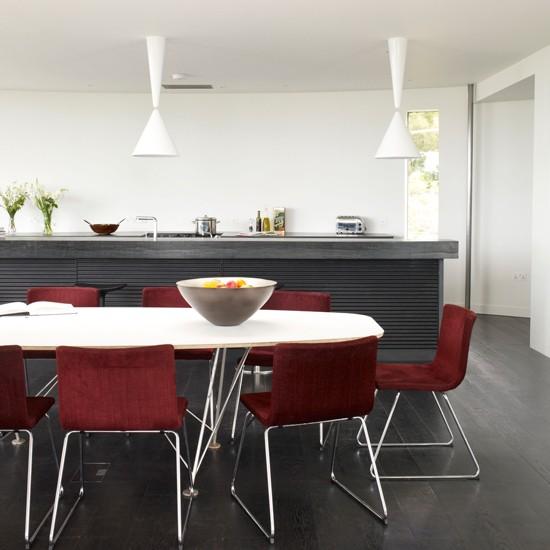 Black modern kitchen-diner | Modern kitchen | Black flooring | Image | Housetohome