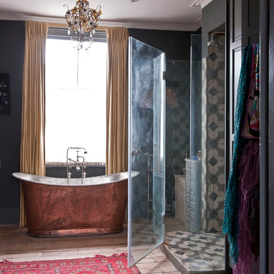 Ethnic-inspired bathroom | Copper bath | Bathroom design | Image | Housetohome