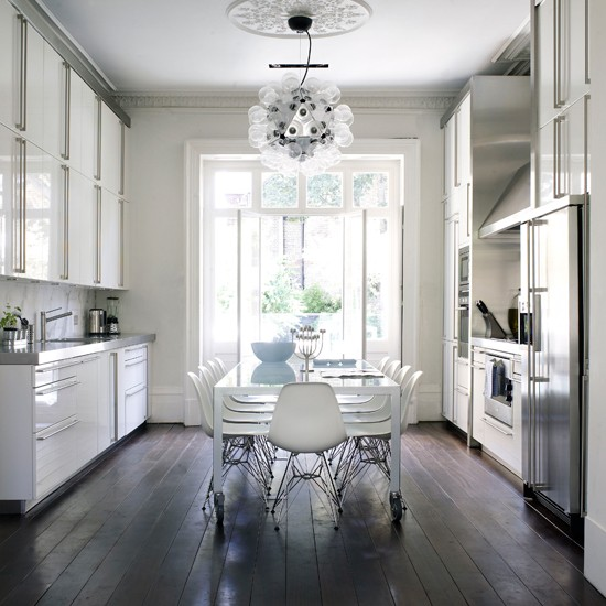 Contrast white walls with dark stained floorboards | kitchen flooring ideas - 10 of the best | kitch