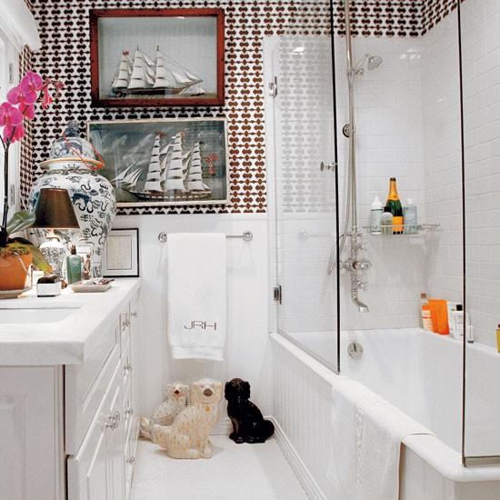 Humourous bathroom take a tour around a fashion designer for Living etc bathroom ideas