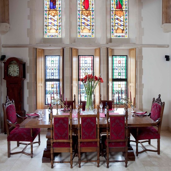 Dining room with stained glass windows | Converted church | House tour | PHOTO GALLERY | Housetohome
