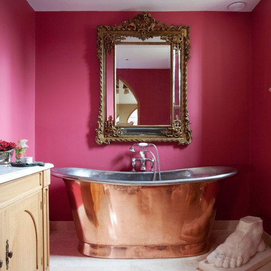 Pink and copper bathroom glamorous converted church - Pink bathtub decorating ideas ...