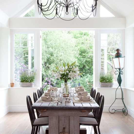 light filled dining room extended country lodge house tour photo